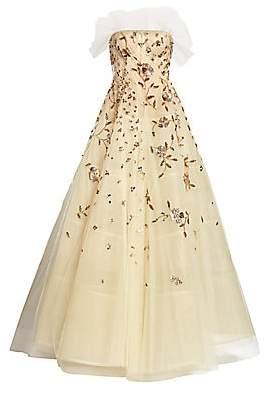 Oscar de la Renta Women's Embellished Tulle Strapless A-Line Ball Gown