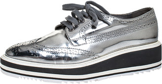 Celine Prada Metallic Silver Brogue Leather Platform Low Top Sneakers Size 38