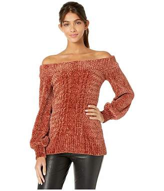 Miss Me Cable Knit Off Shoulder Chenille Sweater