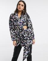 Asos Design DESIGN satin drape tie waist long line blazer dress in floral
