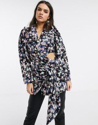 Asos DESIGN satin drape tie waist long line blazer dress in floral