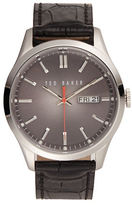 Ted Baker Stainless Steel Black Leather Strap Watch