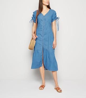 New Look Denim Button Front Midi Dress