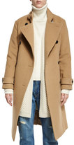 Vince Wool-Blend Double-Breasted Trenchcoat, Camel