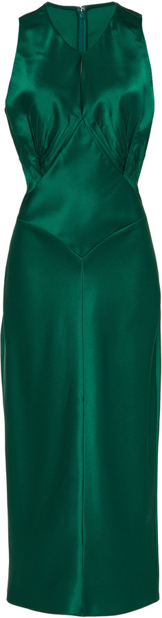 Zac Posen Satin Sleeveless Midi Dress