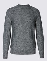 Marks and Spencer Pure Cotton Textured Crew Neck Jumpers