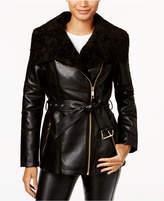 GUESS Faux-Shearling Asymmetrical Coat