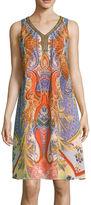 Studio 1 Scroll Print Beaded Neckline Dress