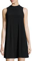 Neiman Marcus Sleeveless Mock-Neck Jersey Dress, Black