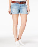 Dollhouse Juniors' Ripped Belted Denim Shorts