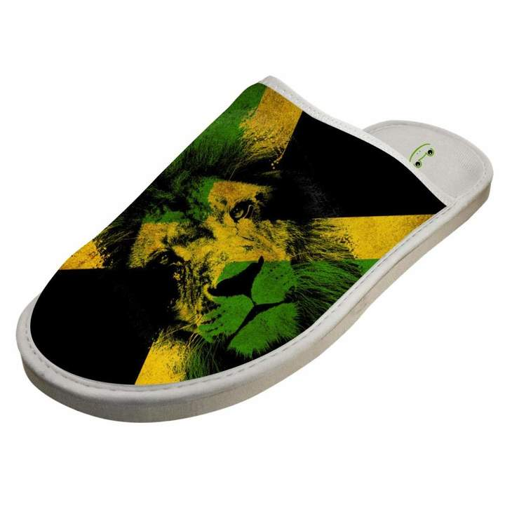 0f9fb19658f6b JJZZA Adult Cool Design House Slippers,Jamaican Lion Printing Home  shoes/Cotton slippers