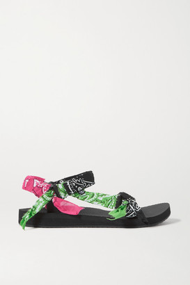 Arizona Love Trekky Printed Gauze-trimmed Canvas Platform Sandals - Black