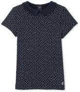 Petit Bateau Girls polka dot T-shirt with Peter Pan collar