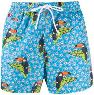 Kiton Toucan Print Swim Shorts