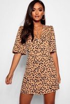 boohoo Petite Dalmatian Print Button Through Shift Dress
