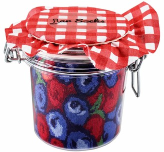 Rainbow Socks - Blueberries and Pears Socks in Jar Funny Gift Idea - 2 Pairs - Size 4-7