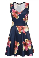Quiz Navy And Yellow Floral Print Sweetheart Skater Dress