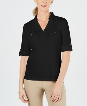 Karen Scott Cotton Johnny-Collar Top, Created for Macy's