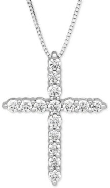 "Grown With Love Lab Grown Diamond Cross 18"" Pendant Necklace (1/2 ct. t.w.) in 14k White Gold"