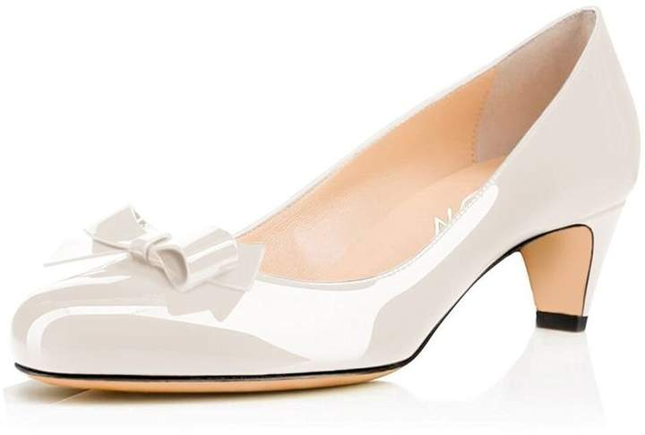 9652e5678ea YDN Women Closed Round Toe Pumps Low Heels Shoes with Bowknot for Work  Office Ladies 8