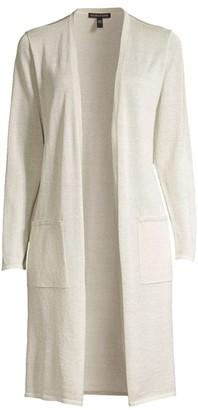 Eileen Fisher Simple Long Lurex Organic Linen-Blend Cardigan