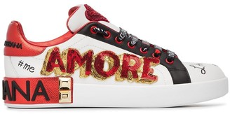 Dolce & Gabbana White, Red And Black Amore Heart Embroidered Leather Sneakers