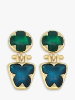Eclectica Vintage 1970s Gold Plated Enamel Clip-On Drop Earrings, Gold/Multi