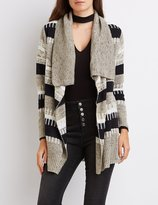 Charlotte Russe Striped Mixed Knit Cardigan