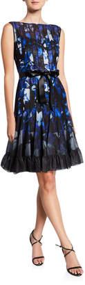 Rickie Freeman For Teri Jon Abstract Sleeveless Pintucked Cocktail Dress