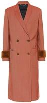 Fendi Shearling-trimmed wool-blend coat
