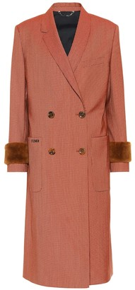 Fendi Shearling-trimmed wool-blend coat