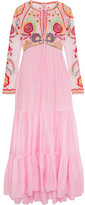 Temperley London Chimera Embroidered Tulle And Silk-blend Maxi Dress - Pink