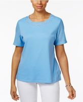 Alfred Dunner Lace-Sleeve Embellished T-Shirt