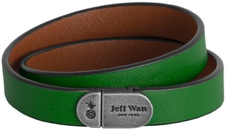 Jeff Wan Leather Bracelet With Magnetic Closure Green Manhattan