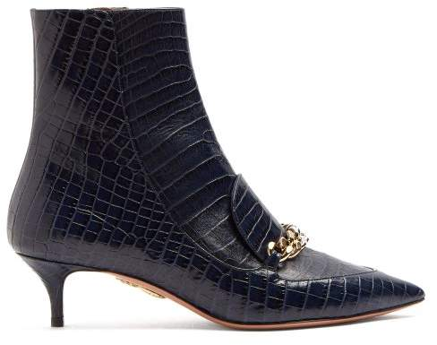 Aquazzura Editor 45 Crocodile Effect Leather Ankle Boots - Womens - Navy