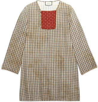 Gucci Check cotton linen tunic shirt