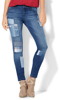 New York & Co. Soho Jeans - Patchwork Superstretch Legging - Indigo Blue Wash