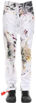 Off-White Off White Diagonal Stripe Stained Slim Denim Jeans