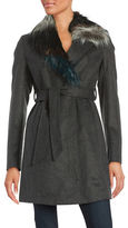 Sam Edelman Faux Fur-Trimmed Wool-Blend Coat