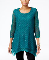 JM Collection Petite Sequined Textured Top, Only at Macy's