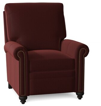"""Thumbnail for your product : Bradington-Young Raylen 34"""" Wide Faux Leather Standard Recliner Body Fabric: Triomphe Celestial, Leg Color: New Classiques, Nailhead Detail: #9 Natura"""