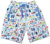 Zutano White & Blue Superhero Tree House Shorts - Toddler