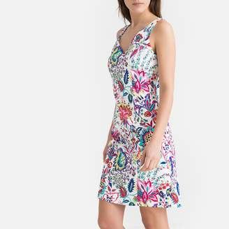 Naf Naf Stretch Cotton Sleeveless Bodycon Dress in Floral Print