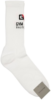 Balenciaga Logo Gym Intarsia Stretch Cotton Socks