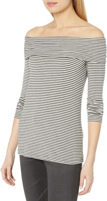 Three Dots Women's Stripe Off Shoulder French Terry Tee