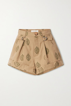 Chloé Embroidered Pleated Cotton Shorts - Beige