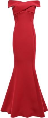Rachel Gilbert Enico Fluted Off-the-shoulder Scuba Gown