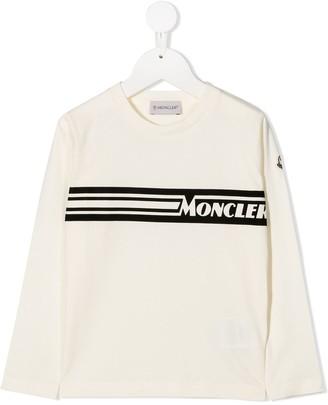 Moncler Enfant Logo Print Long Sleeve T-Shirt