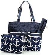 Handbags Nautical Anchor Print Quilted Canvas Diaper Tote Bag