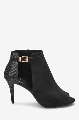 Next Womens Black Forever Comfort Cut-Out Peep Toe Shoe Boots - Black